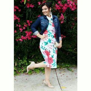 Beautiful Floral Sheath/Midi Dress